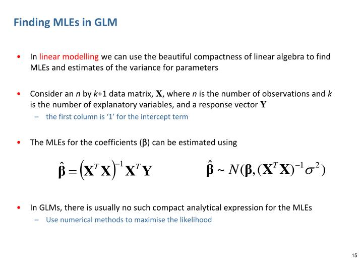 Finding MLEs in GLM