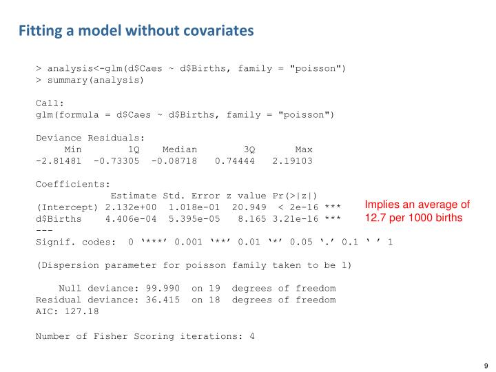 Fitting a model without covariates