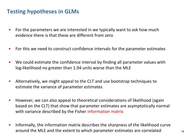 Testing hypotheses in GLMs