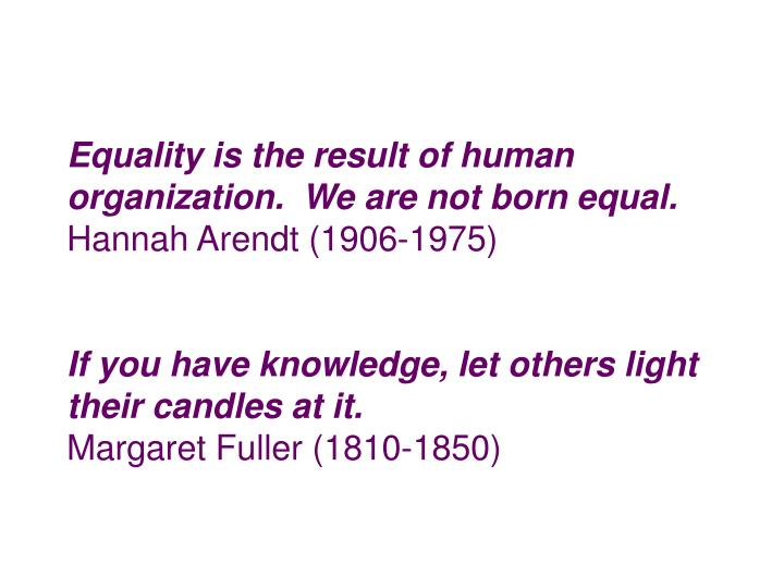 Equality is the result of human organization.  We are not born equal.