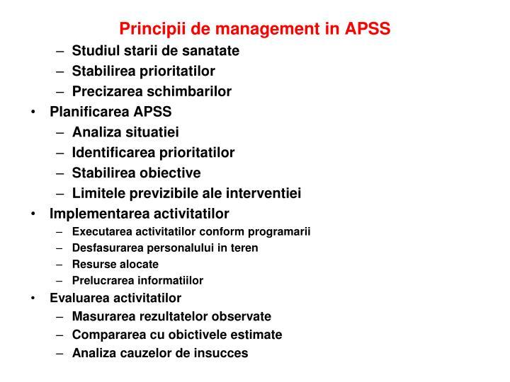 Principii de management in APSS