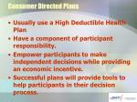consumer directed plans