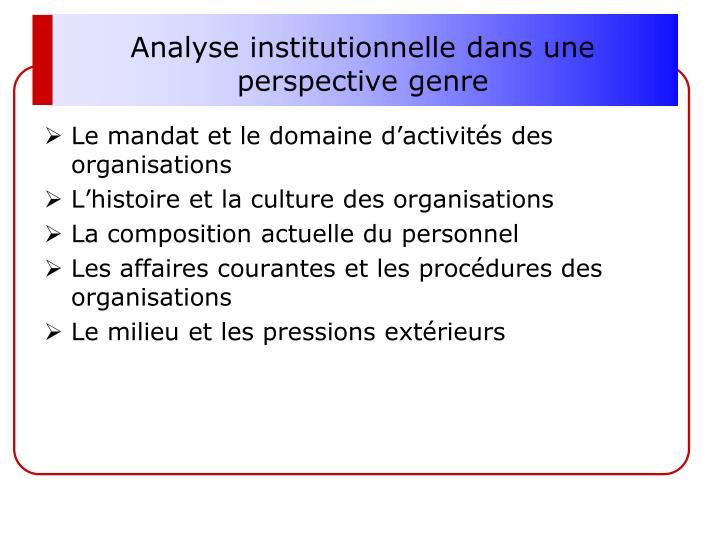 Analyse institutionnelle dans une perspective genre
