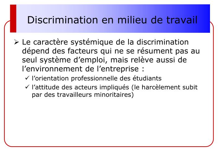 Discrimination en milieu de travail