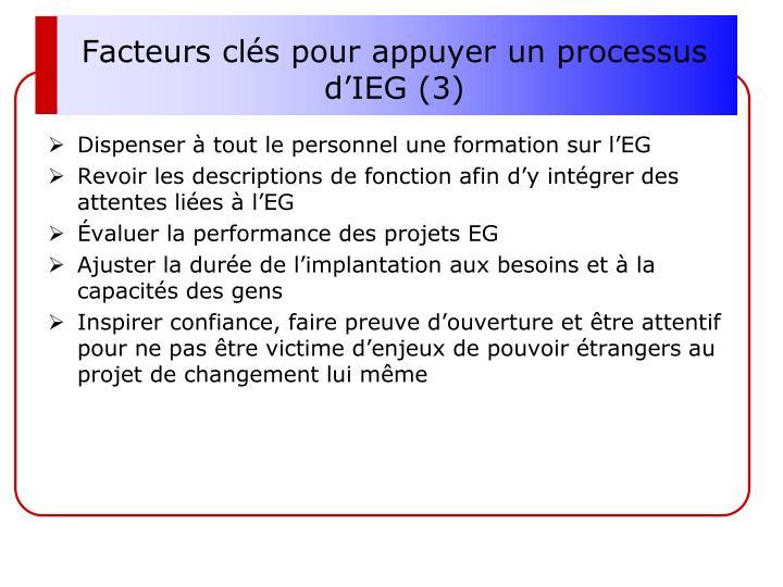 Facteurs clés pour appuyer un processus d'IEG (3)