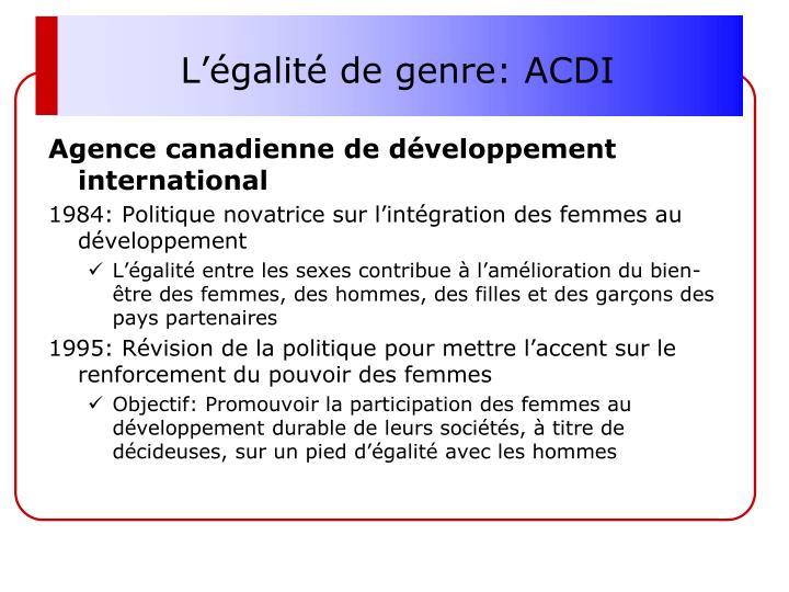 L'égalité de genre: ACDI