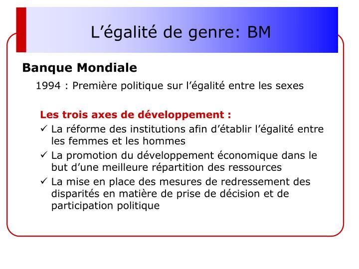 L'égalité de genre: BM