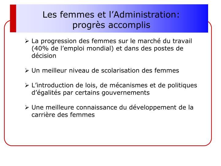 Les femmes et l'Administration: