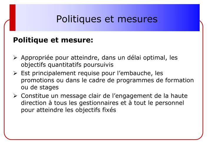 Politiques et mesures