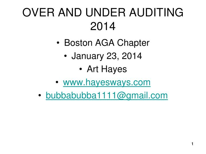 over and under auditing 2014 n.