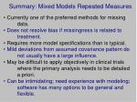 summary mixed models repeated measures
