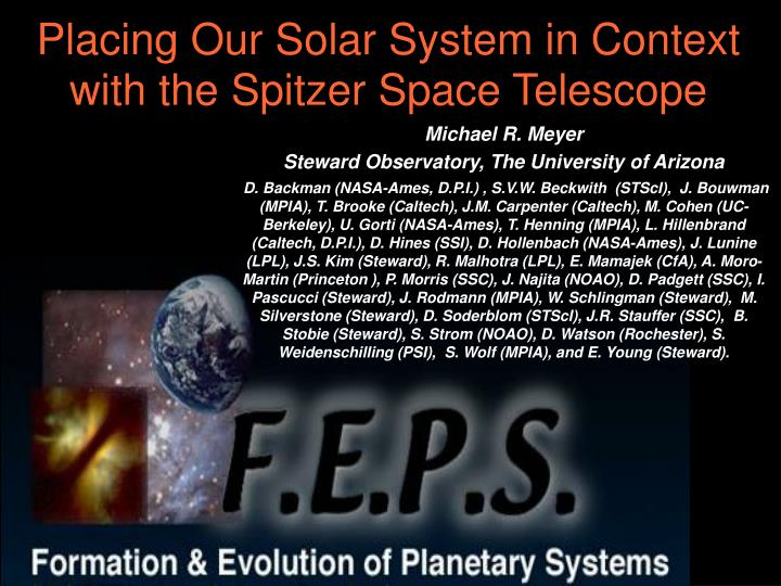Placing our solar system in context with the spitzer space telescope