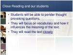 close reading and our students