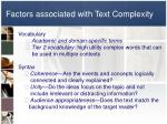 factors associated with text complexity