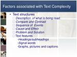 factors associated with text complexity1