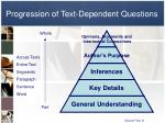 progression of text dependent questions