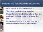 students and text dependent questions