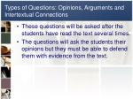 types of questions opinions arguments and intertextual connections