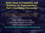 basic ideas in probability and statistics for experimenters part i qualitative discussion