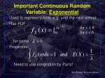 important continuous random variable exponential