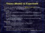 theory model vs experiment
