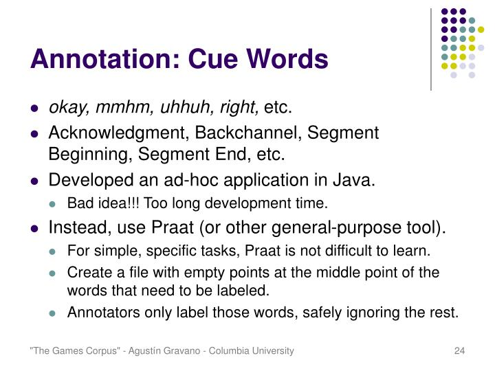 Annotation: Cue Words