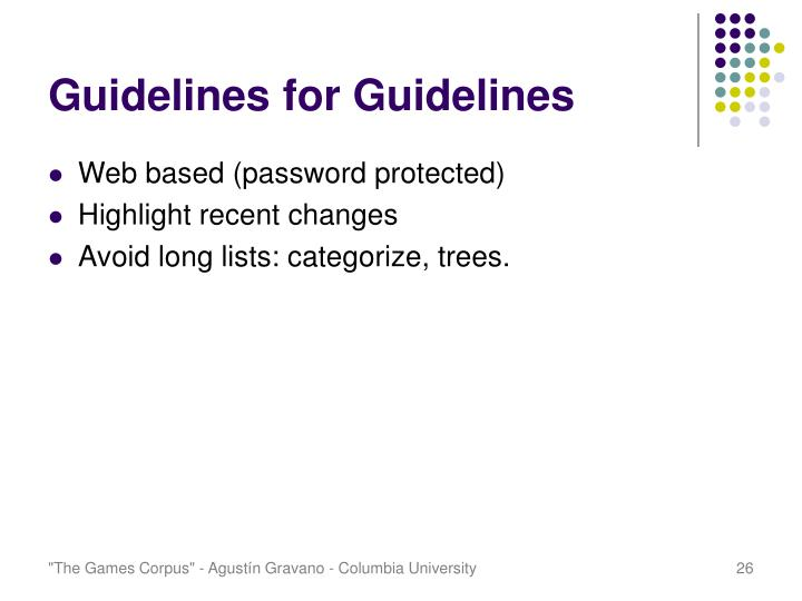 Guidelines for Guidelines