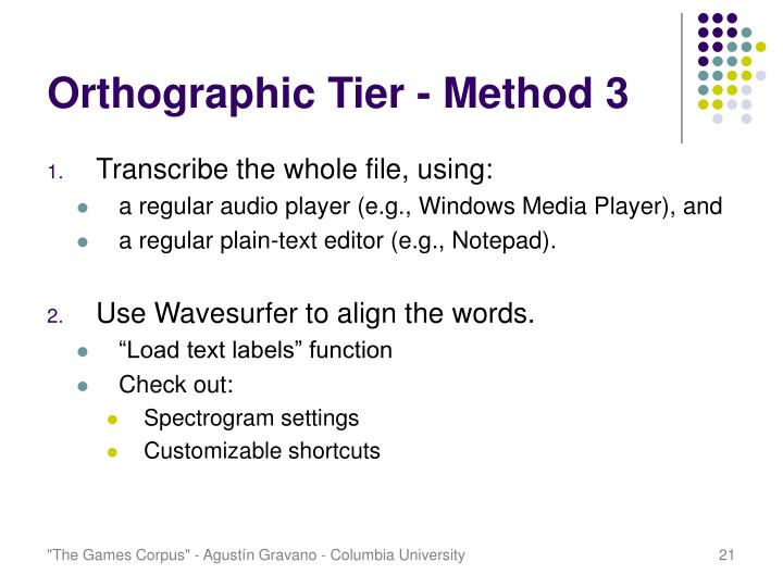Orthographic Tier - Method 3