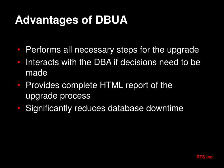 Advantages of DBUA
