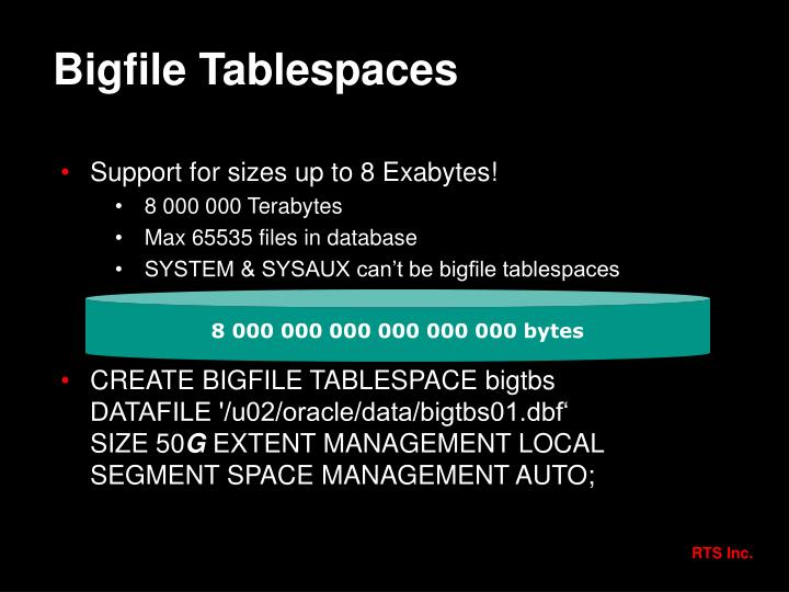Bigfile Tablespaces