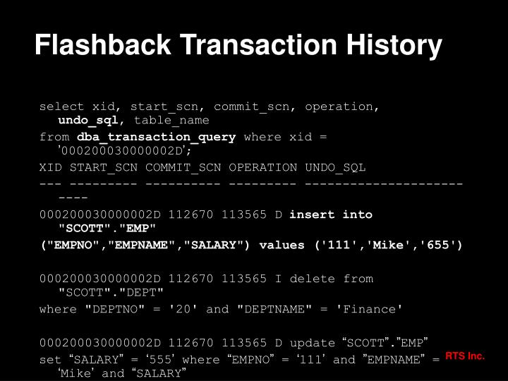 Flashback Transaction History