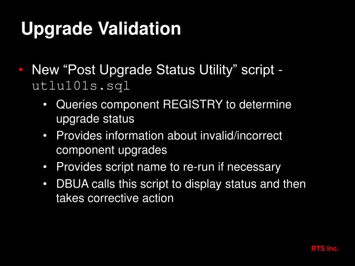 Upgrade Validation