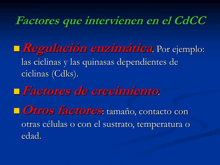 Factores que intervienen en el CdCC