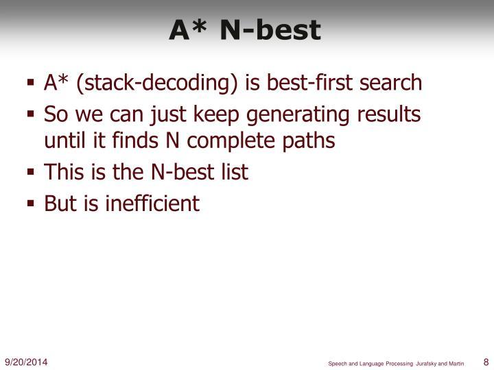 A* N-best