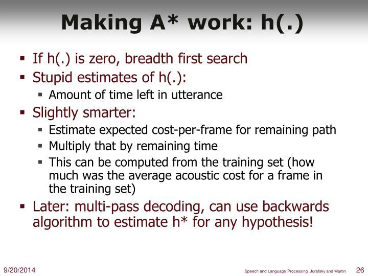Making A* work: h(.)
