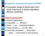 respiratory system involvement in mods