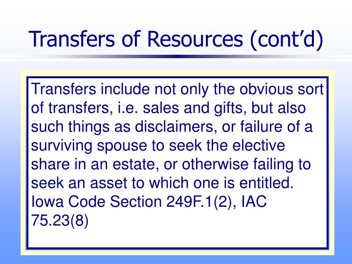 Transfers of Resources (cont'd)