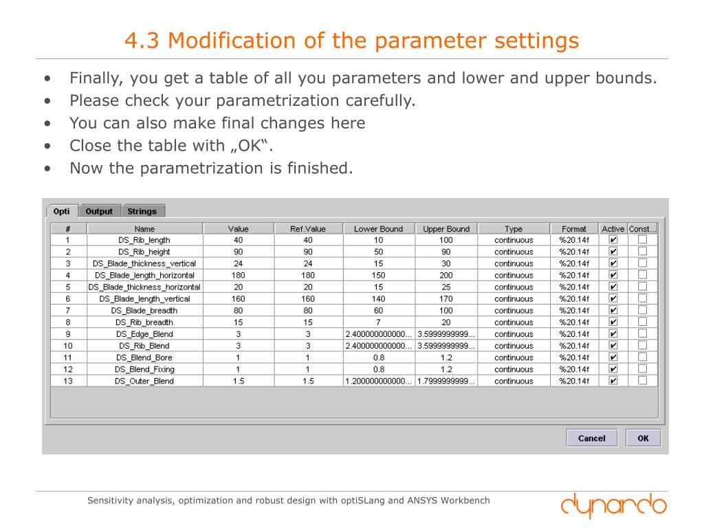 PPT - Sensitivty Analysis, Optimization and Robust Design with