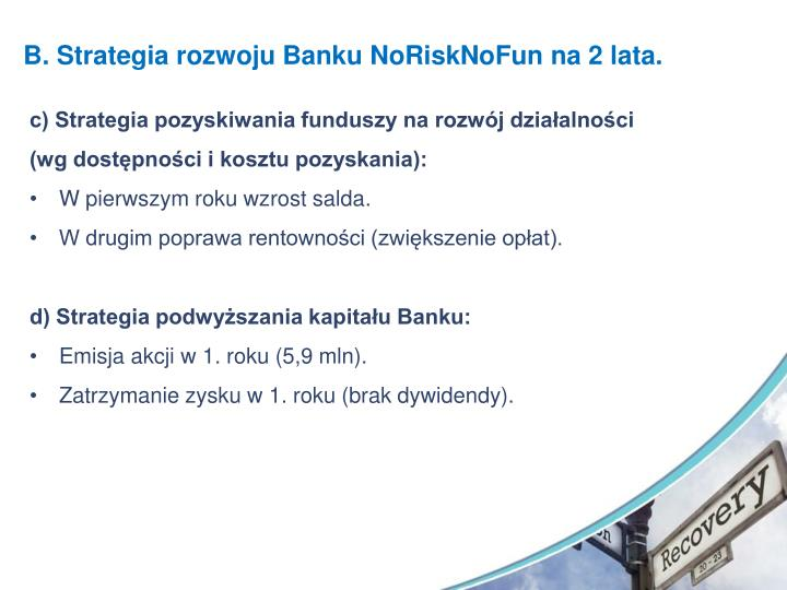 B. Strategia rozwoju Banku