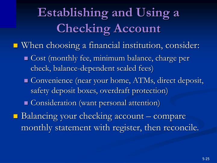 Establishing and Using a Checking Account