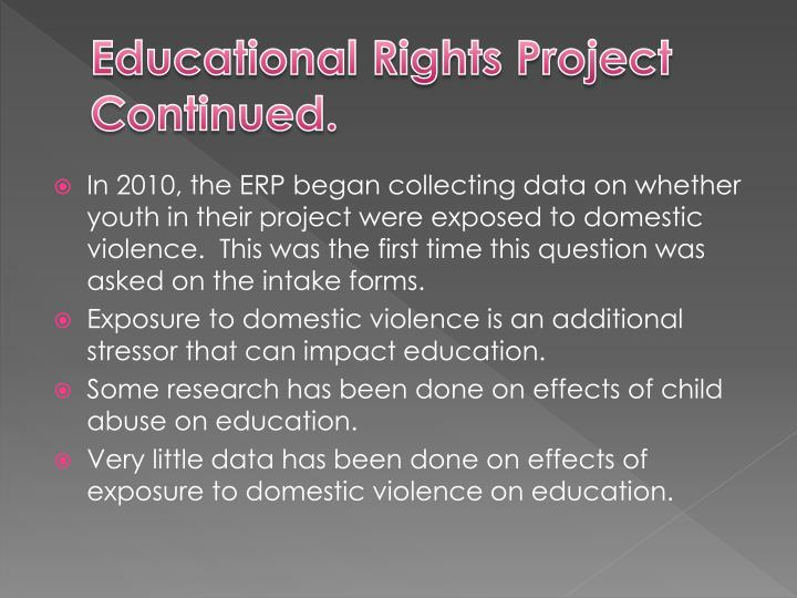 Educational Rights Project Continued.