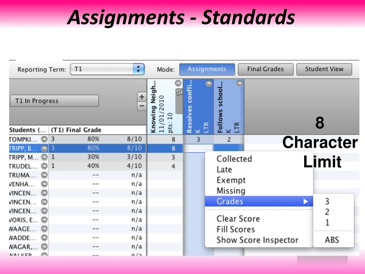 Assignments - Standards
