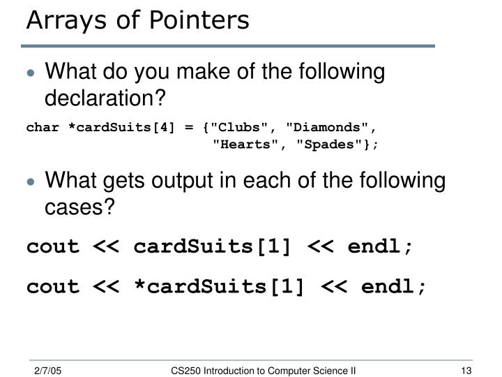 Arrays of Pointers