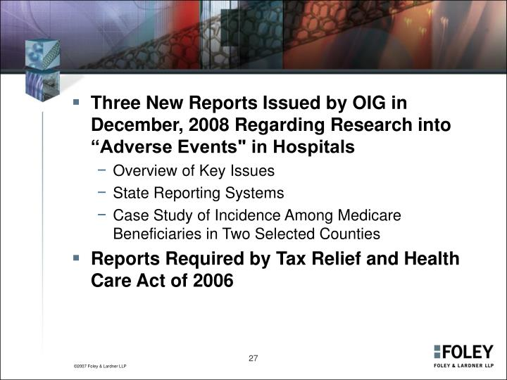 """Three New Reports Issued by OIG in December, 2008 Regarding Research into """"Adverse Events"""" in Hospitals"""
