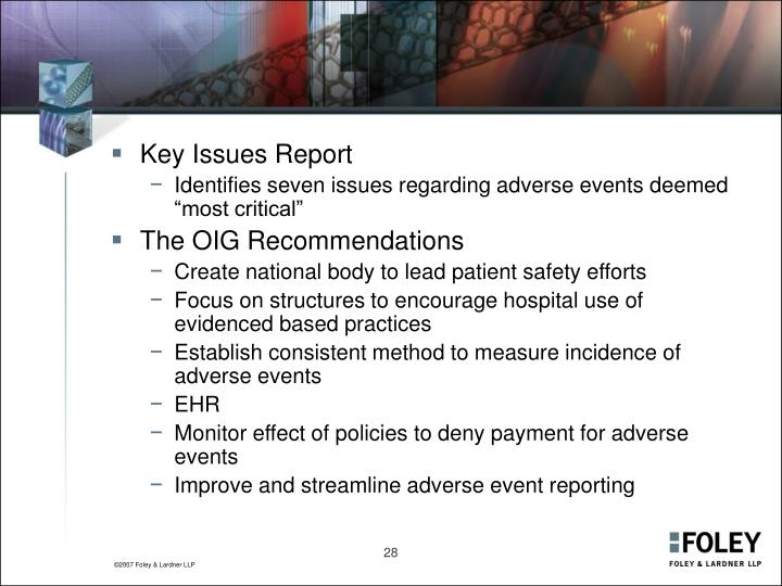 Key Issues Report