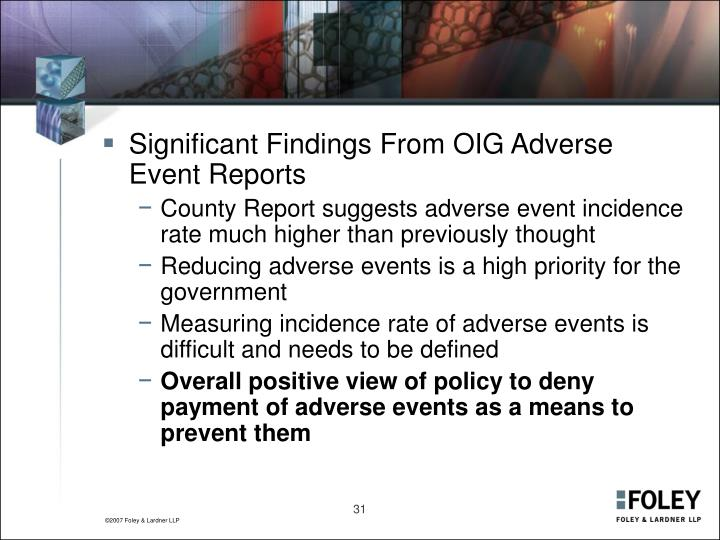 Significant Findings From OIG Adverse Event Reports