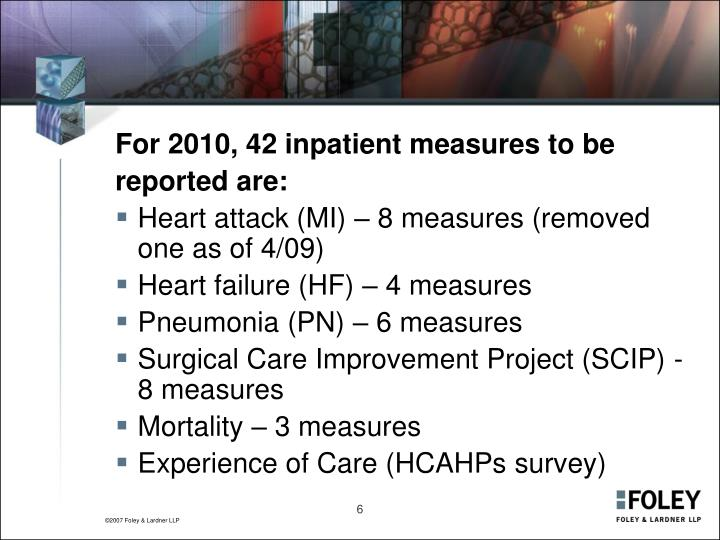 For 2010, 42 inpatient measures to be