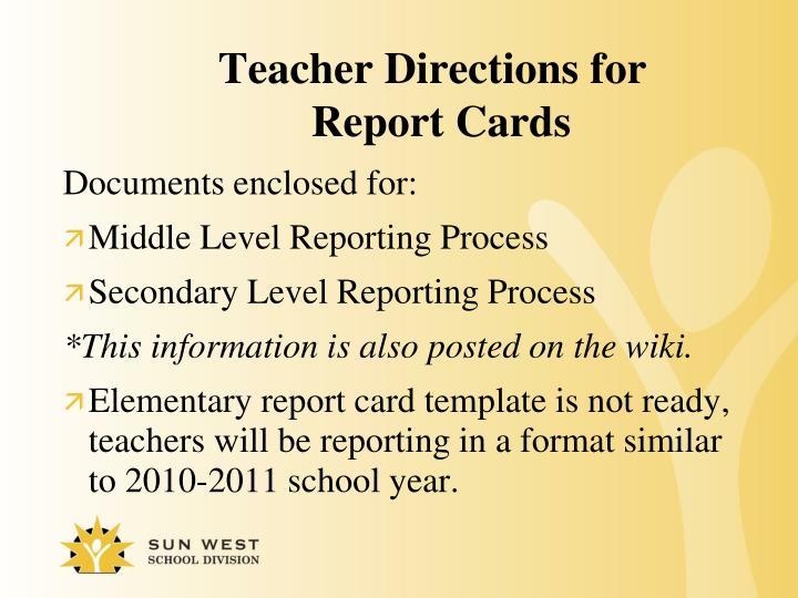 Teacher Directions for