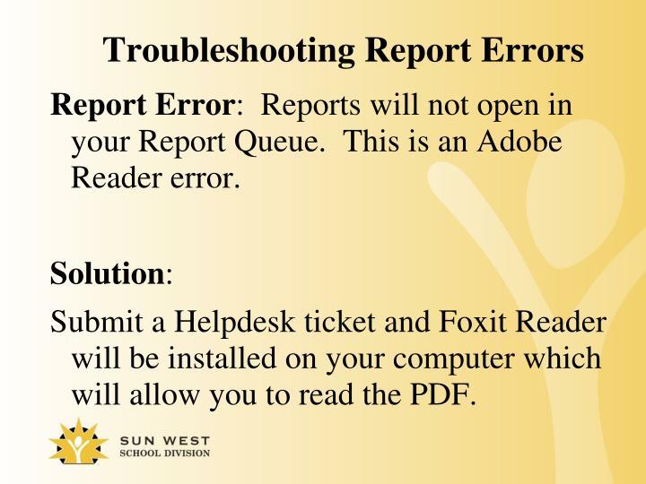 Troubleshooting Report Errors