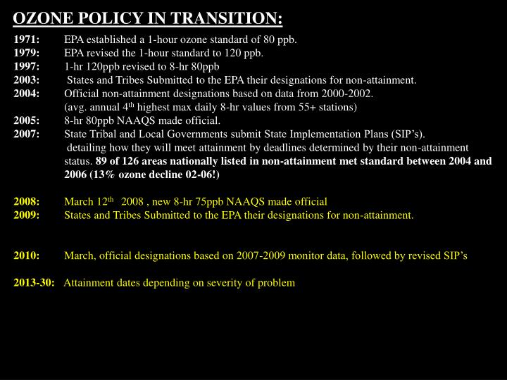 OZONE POLICY IN TRANSITION: